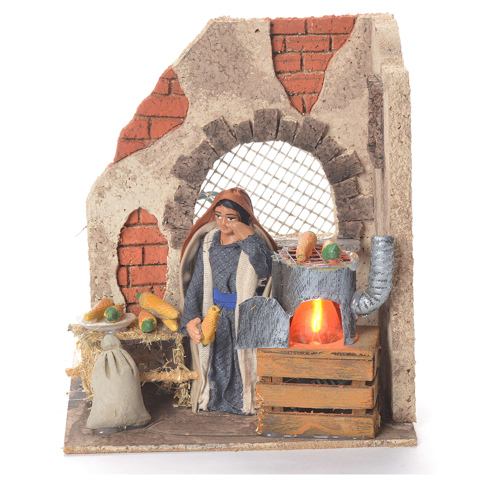 Animated woman with corn 10cm Neapolitan Nativity 4