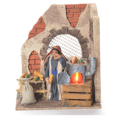 Animated woman with corn 10cm Neapolitan Nativity 1