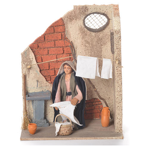 Animated woman hanging clothes 10cm Neapolitan Nativity 1