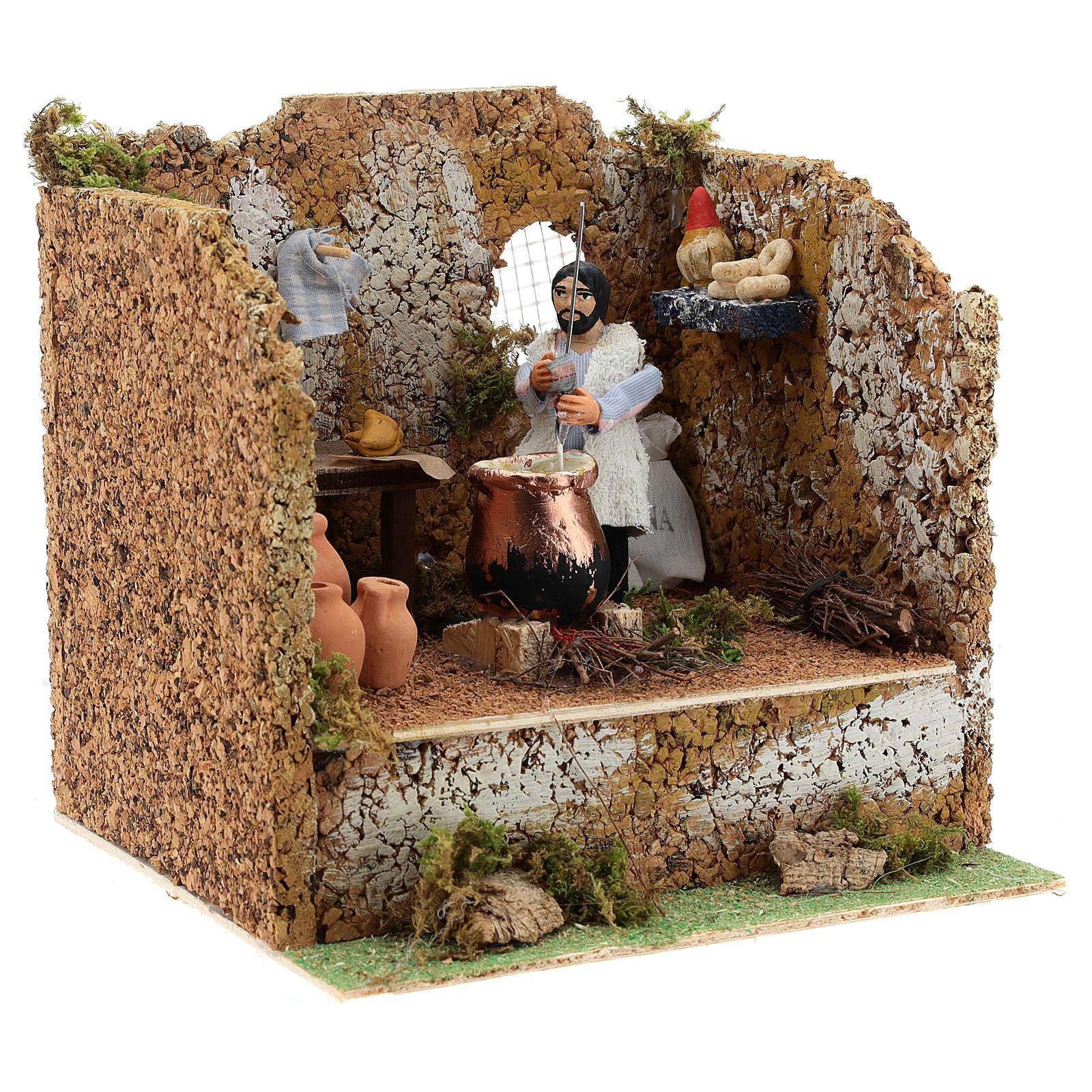 Animated man making polenta, 10cm Neapolitan Nativity 4