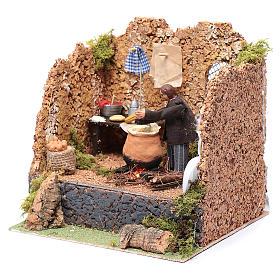 Animated man making polenta, 10cm Neapolitan Nativity s2