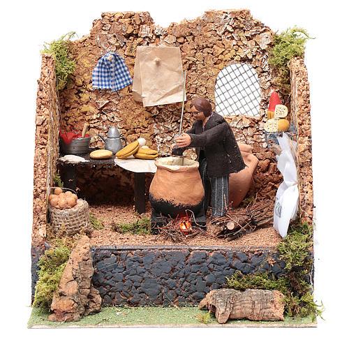 Animated man making polenta, 10cm Neapolitan Nativity 1