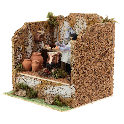 Animated man making polenta, 10cm Neapolitan Nativity 2