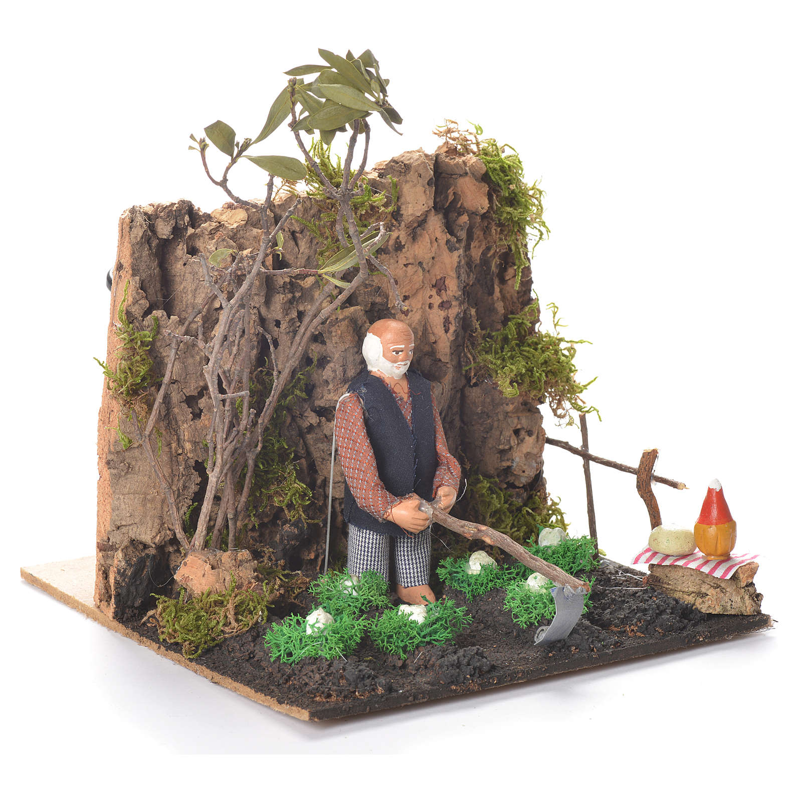 Animated man Hoeing, 10cm Neapolitan Nativity 4