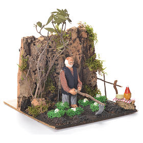 Animated man Hoeing, 10cm Neapolitan Nativity s2