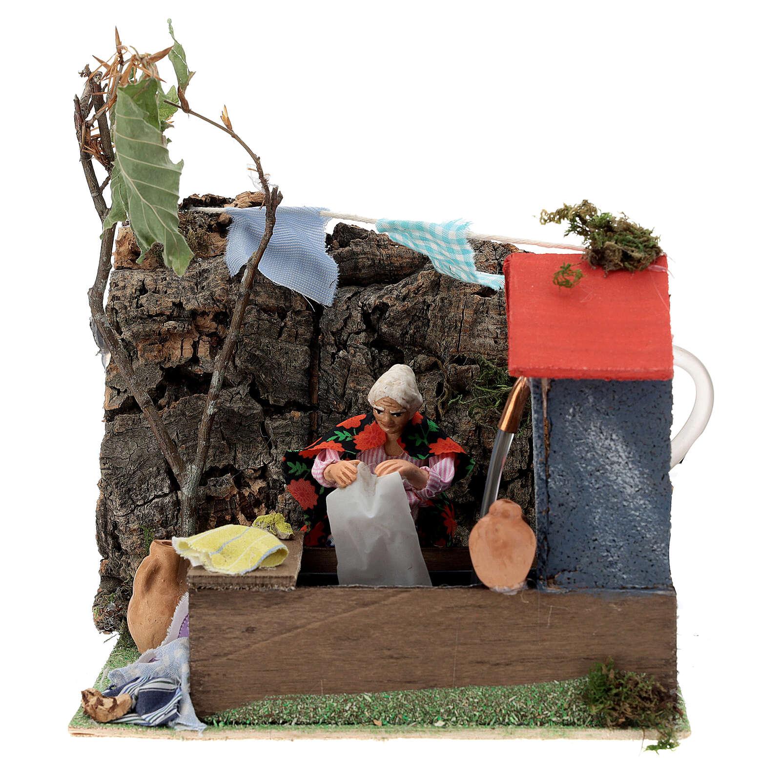 Animated washerwoman, 10cm Neapolitan Nativity 4