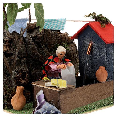 Animated washerwoman, 10cm Neapolitan Nativity 2