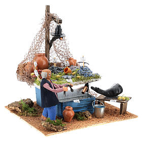 Fishmonger's stall with fountain and light Neapolitan Nativity 10cm s7