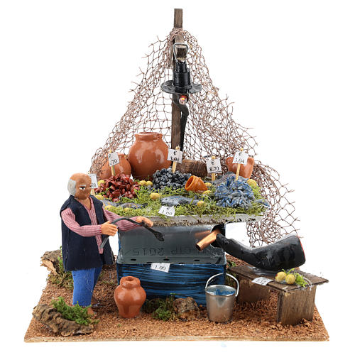 Fishmonger's stall with fountain and light Neapolitan Nativity 10cm 5