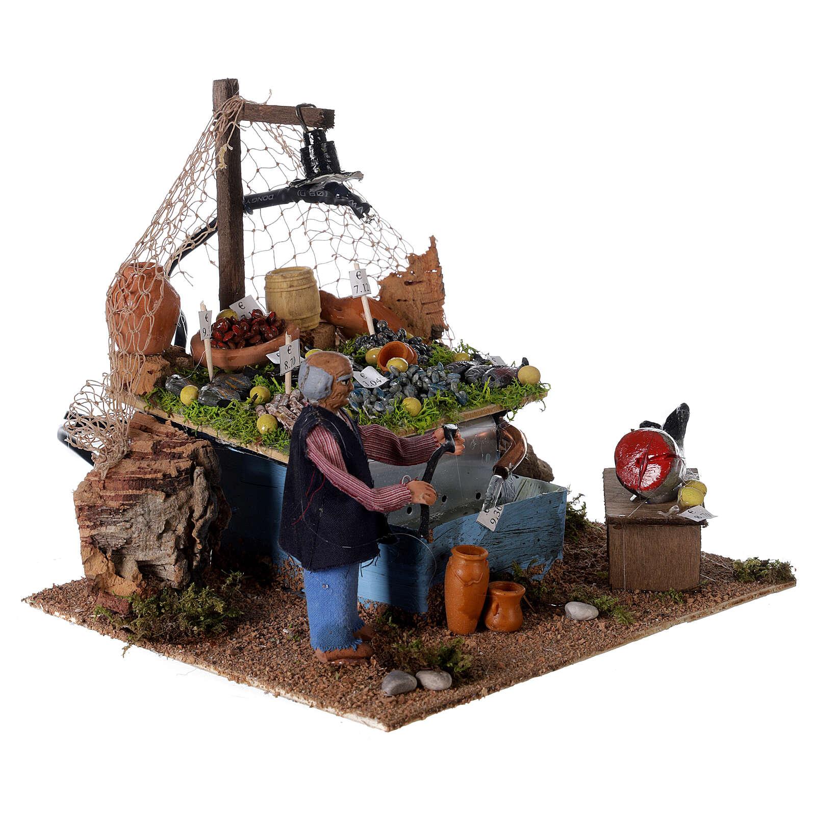 Banc pêcheur 10cm avec fontaine et lumière, crèche napolitaine 4