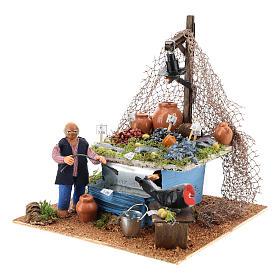 Banc pêcheur 10cm avec fontaine et lumière, crèche napolitaine s6