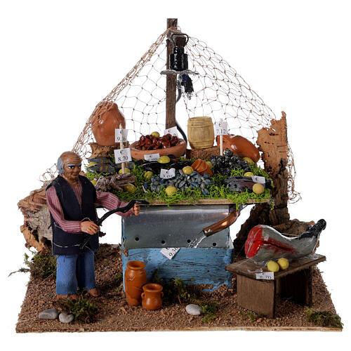 Banc pêcheur 10cm avec fontaine et lumière, crèche napolitaine 1