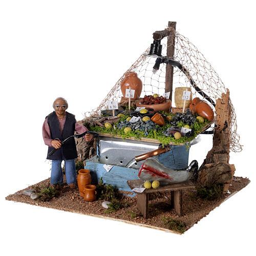 Banc pêcheur 10cm avec fontaine et lumière, crèche napolitaine 2