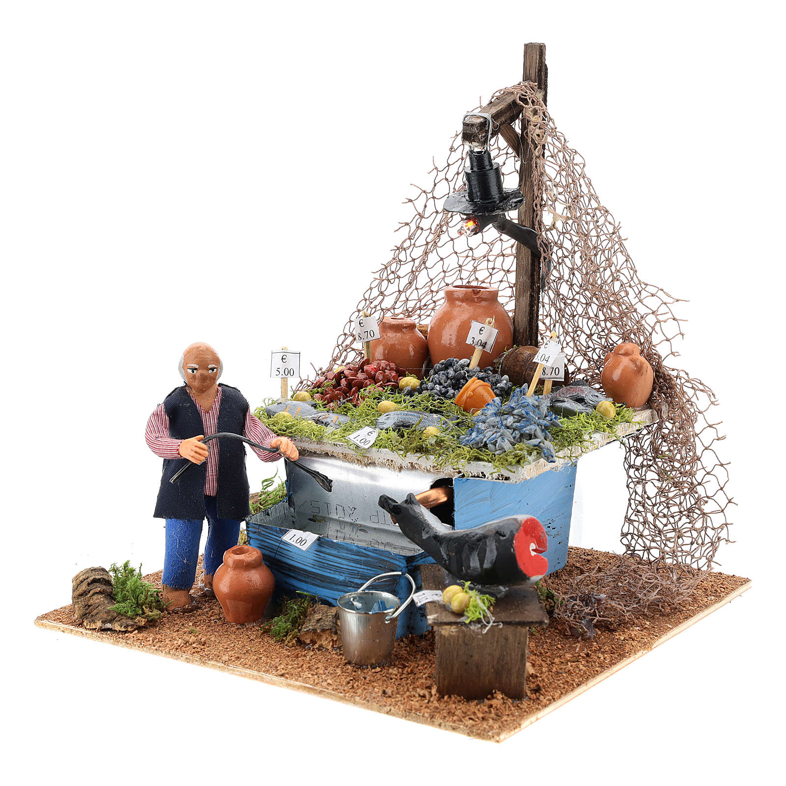Banca do peixeiro 10 cm com fontanário e luz presépio Nápoles 4