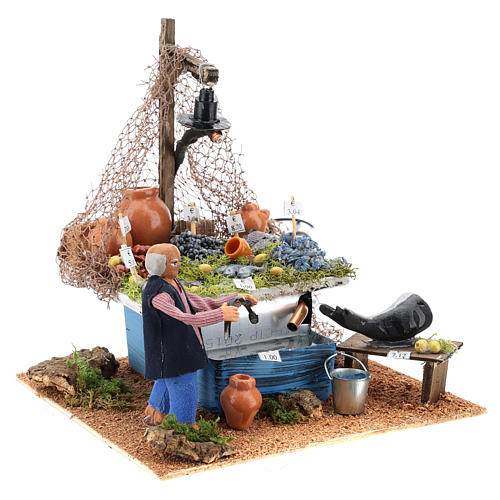 Fishmonger's stall with fountain and light Neapolitan Nativity 10cm 7