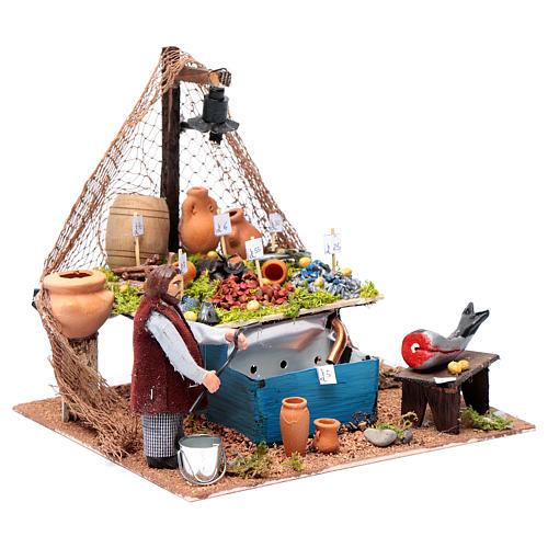 Fishmonger's stall with fountain and light Neapolitan Nativity 10cm 3