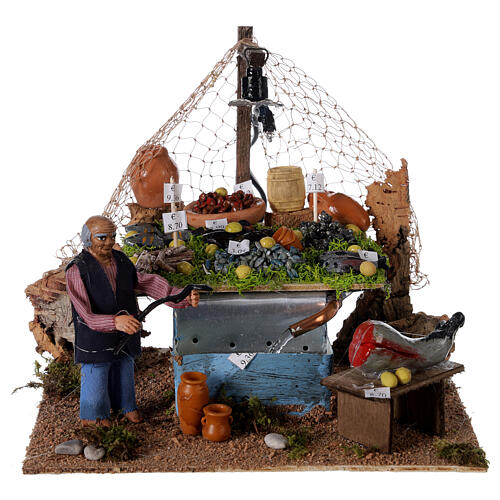 Fishmonger's stall with fountain and light Neapolitan Nativity 10cm 1