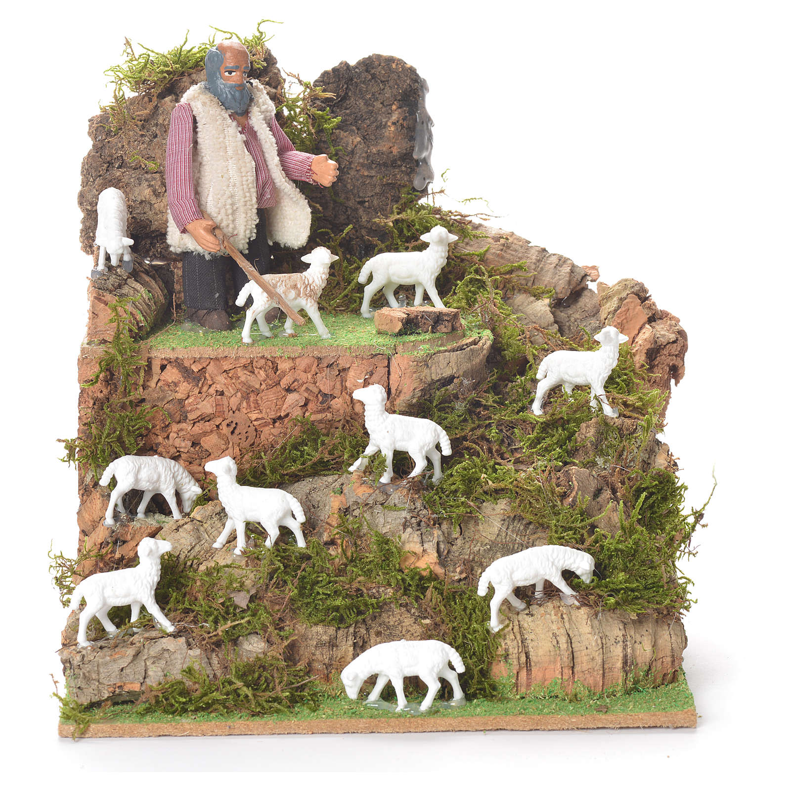 Animated man with sheep, 10cm for Neapolitan Nativity 4