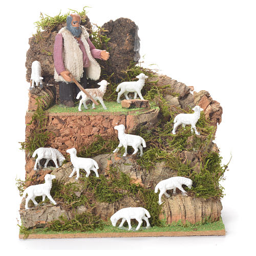 Animated man with sheep, 10cm for Neapolitan Nativity 1