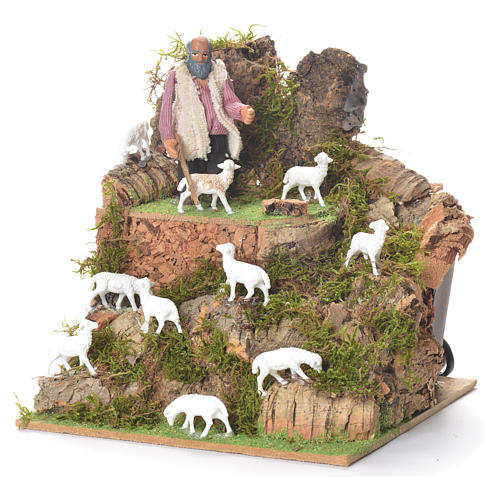Animated man with sheep, 10cm for Neapolitan Nativity 2