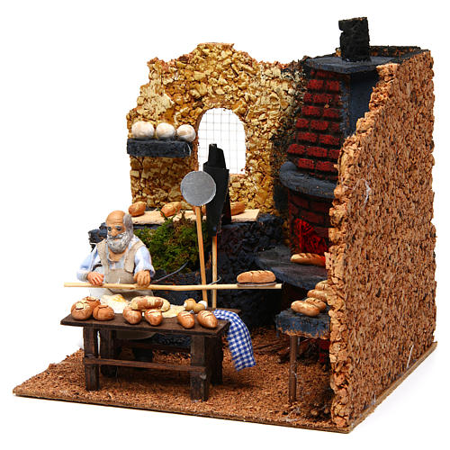 Panadero napoletano figura en movimiento para belén con figuras de altura média 10 cm 2