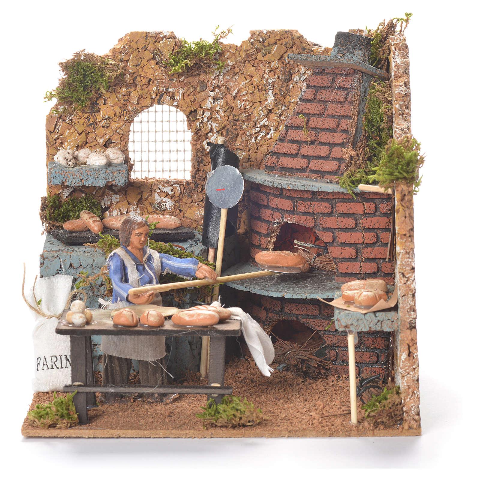 Boulanger qui enfourne 10 cm animation crèche napolitaine 4