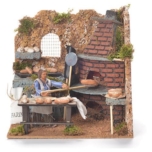 Boulanger qui enfourne 10 cm animation crèche napolitaine 1