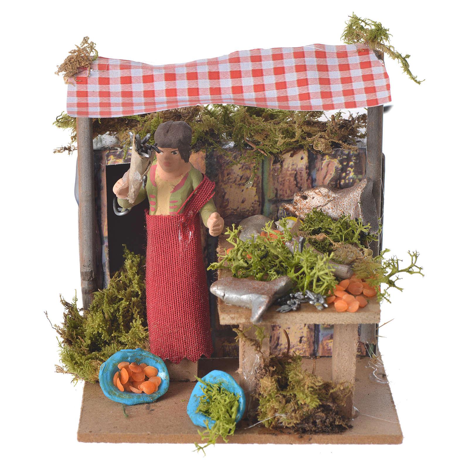Fishmonger, animated nativity figurine 7cm 3