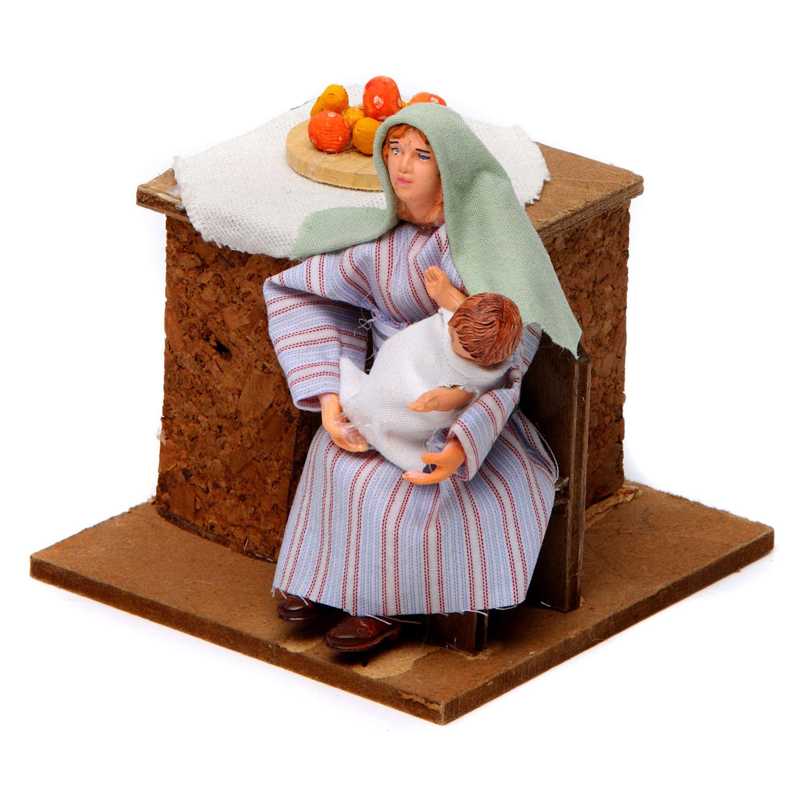 Donna araba culla bambino 12 cm movimento presepe 3