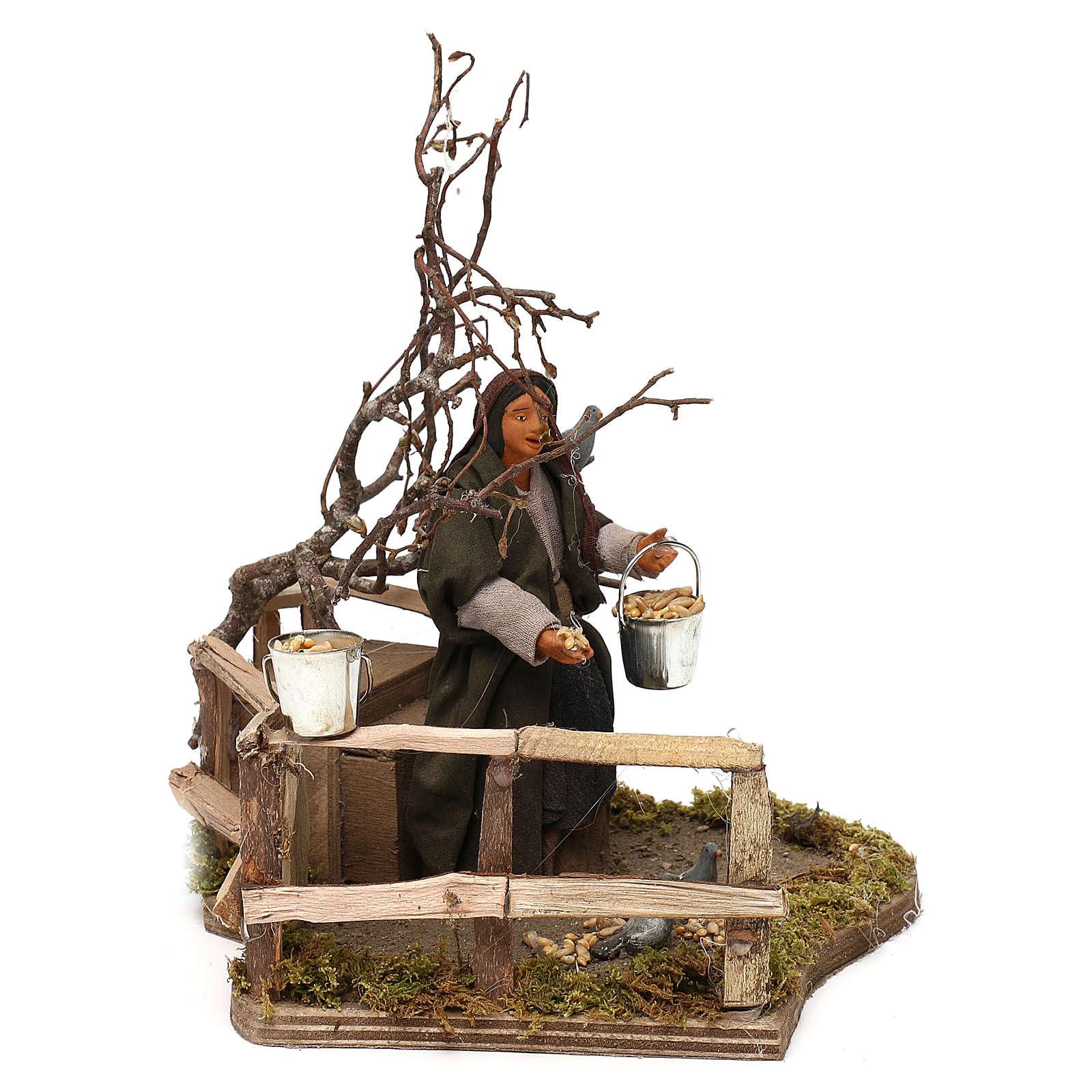 Woman with doves animated Neapolitan Nativity figurine 12cm 4