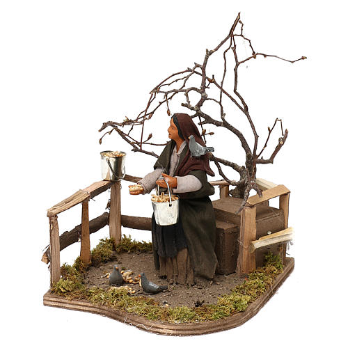 Woman with doves animated Neapolitan Nativity figurine 12cm 1