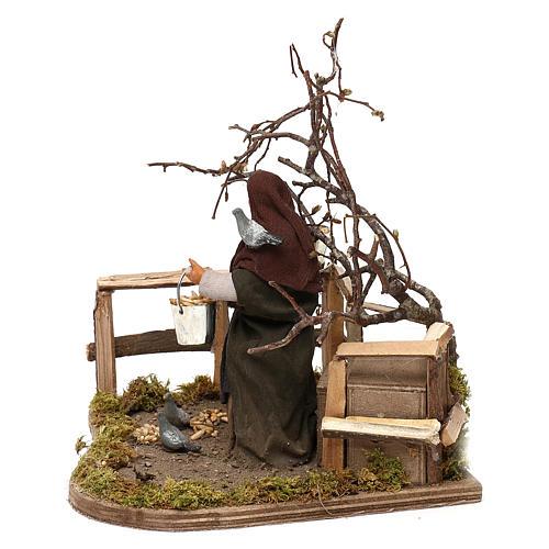 Woman with doves animated Neapolitan Nativity figurine 12cm 2