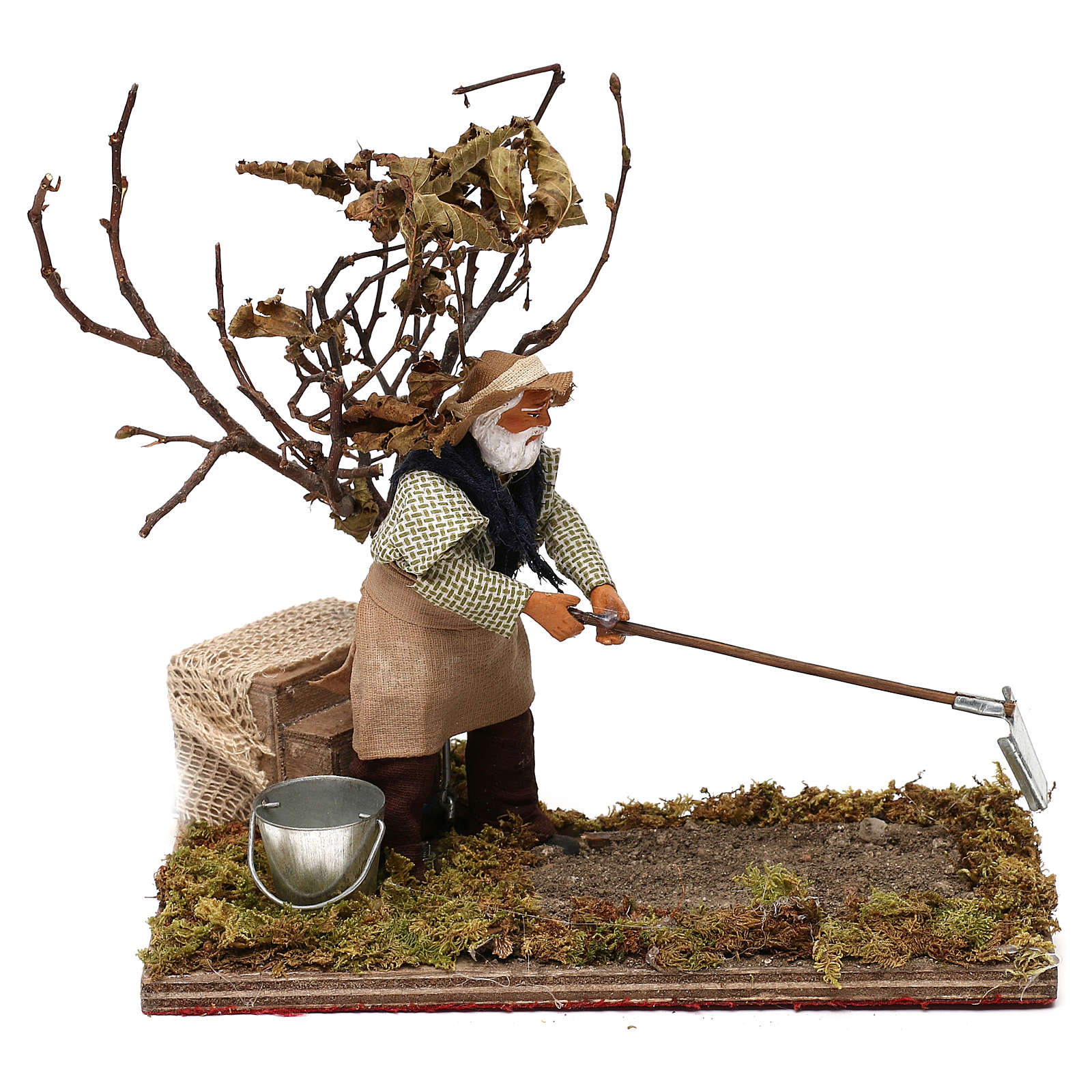 Agriculteur avec arbre 12 cm en mouvement crèche Naples 4