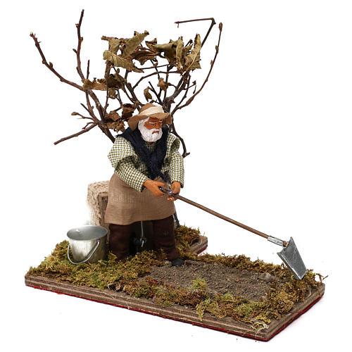 Agriculteur avec arbre 12 cm en mouvement crèche Naples 2