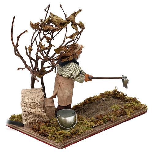 Agriculteur avec arbre 12 cm en mouvement crèche Naples 3