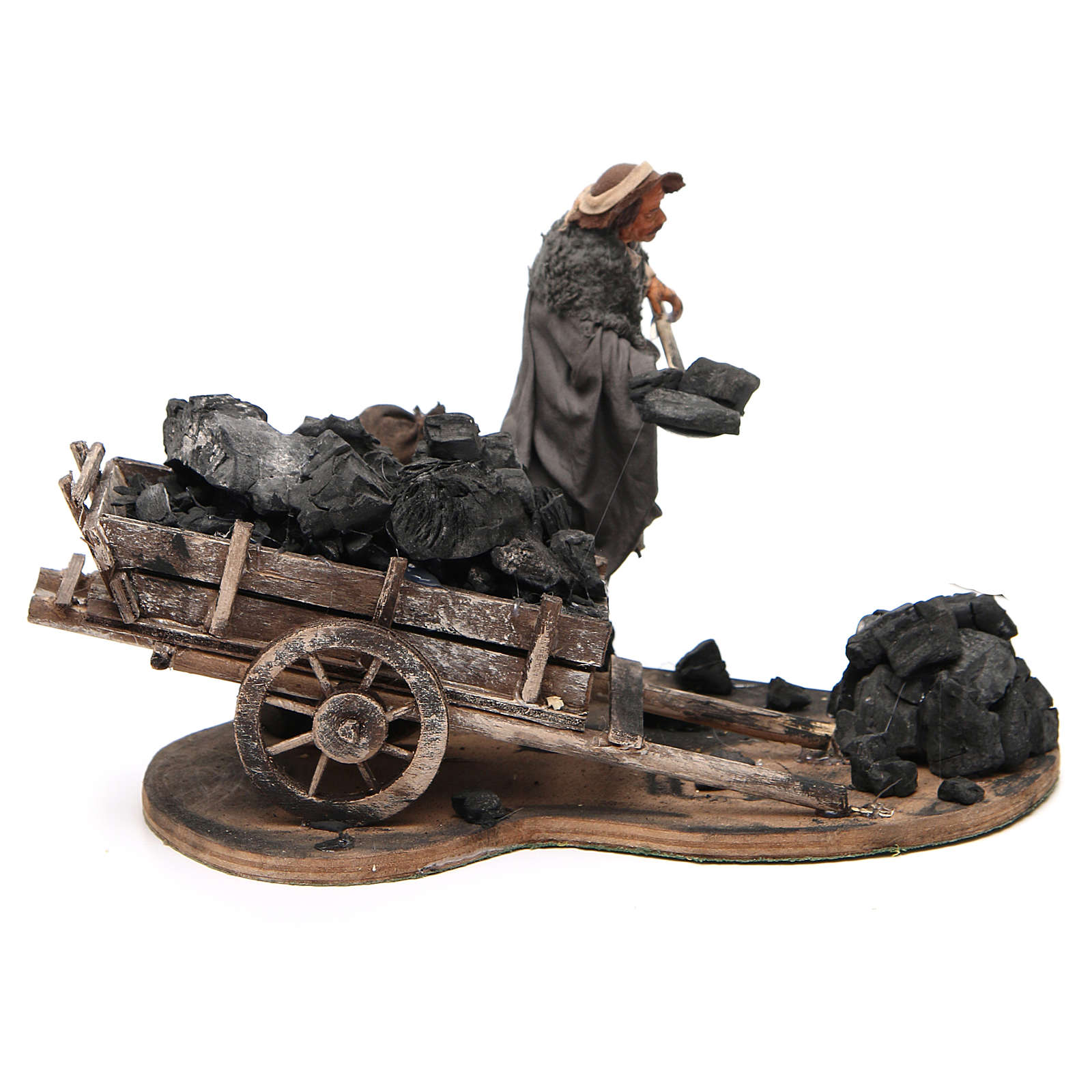 Carbonaio carro di carbone 14 cm movimento presepe Napoli 4