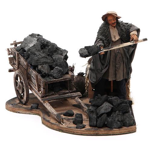 Carbonaio carro di carbone 14 cm movimento presepe Napoli 1