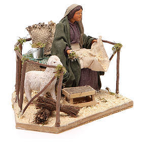 Movimiento mujer con oveja belén de Nápoles 14 cn s3