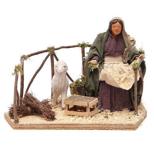 Movimiento mujer con oveja belén de Nápoles 14 cn 1