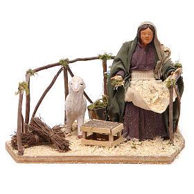 Presépio Napolitano: Mulher com ovelha movimento para presépio napolitano com figuras  altura média 14 cm