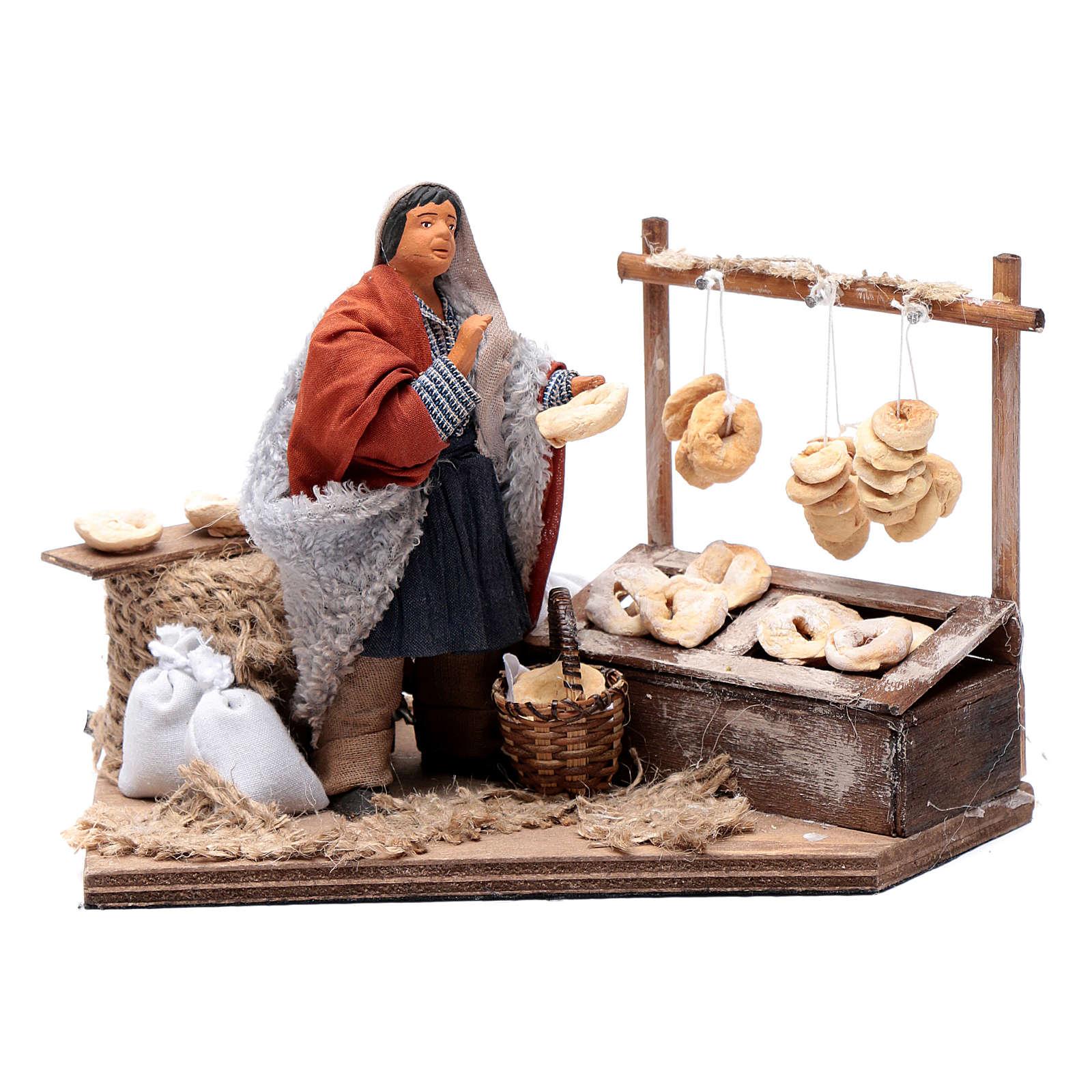 Man making taralli, animated Neapolitan Nativity figurine 12cm 4