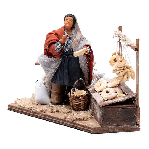 Man making taralli, animated Neapolitan Nativity figurine 12cm 2