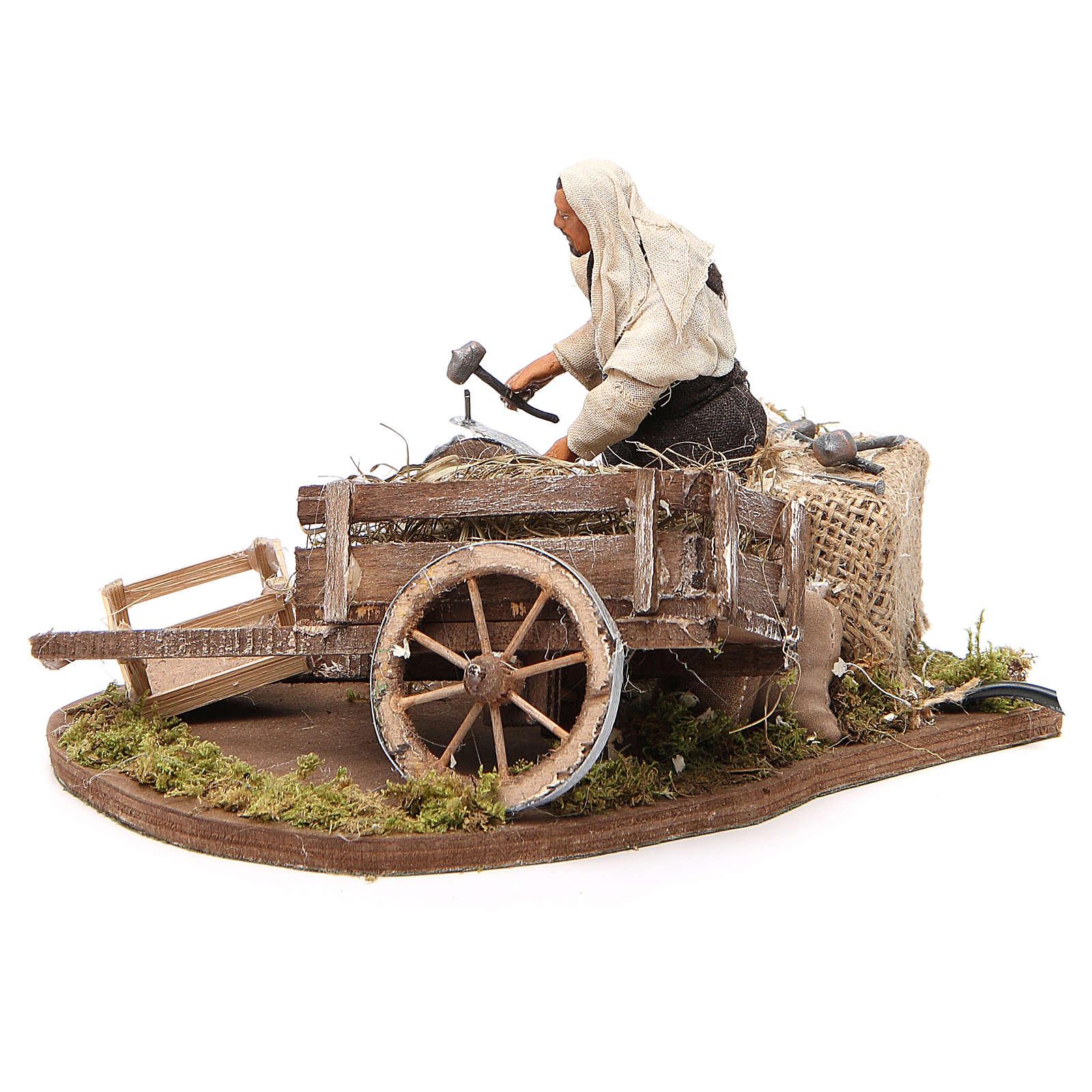 Réparateur de roue en mouvement 12 cm crèche Naples 4