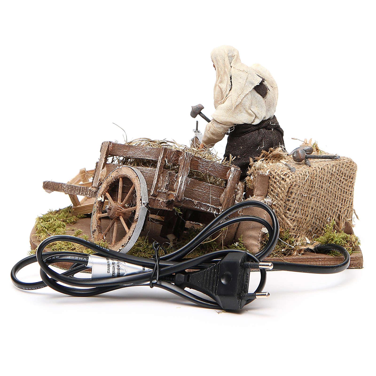 Aggiusta ruota con carro in movimento 12 cm presepe Napoli 4