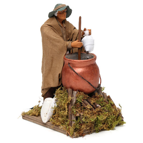 Man making polenta, animated Neapolitan Nativity figurine 14cm 3