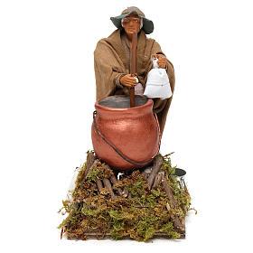 Homem que mistura a polenta movimento para presépio napolitano com figuras  altura média 14 cm s1