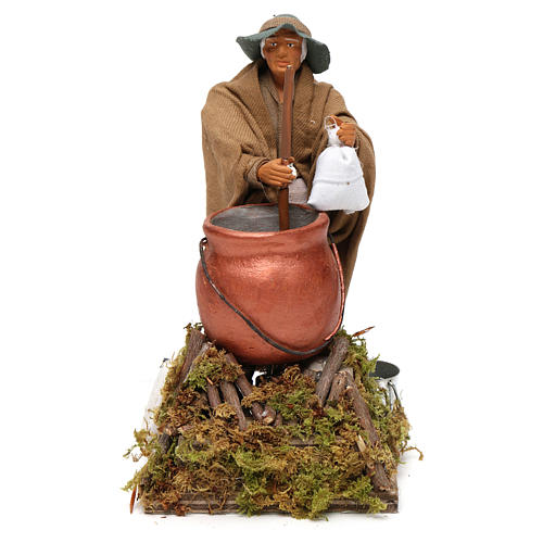 Homem que mistura a polenta movimento para presépio napolitano com figuras  altura média 14 cm 1