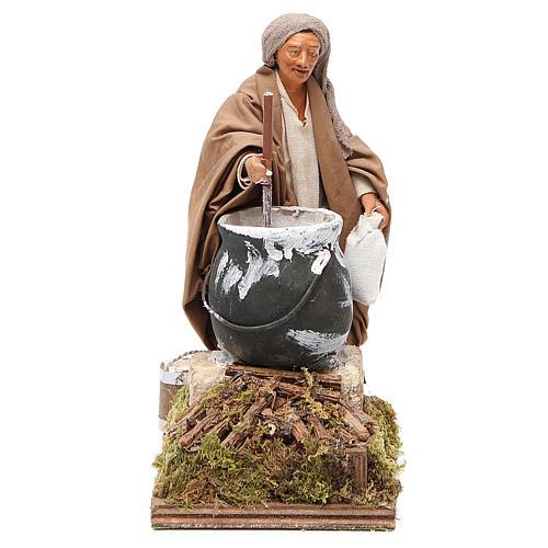 Man making polenta, animated Neapolitan Nativity figurine 14cm 1