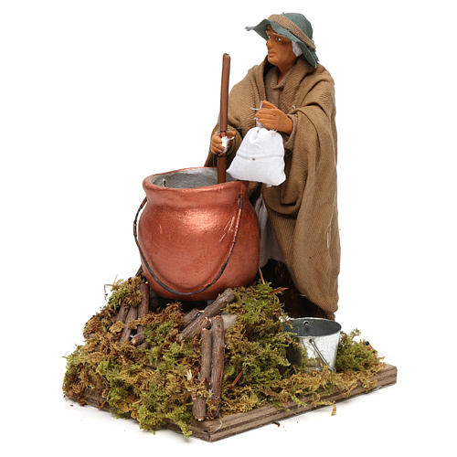 Man making polenta, animated Neapolitan Nativity figurine 14cm 2