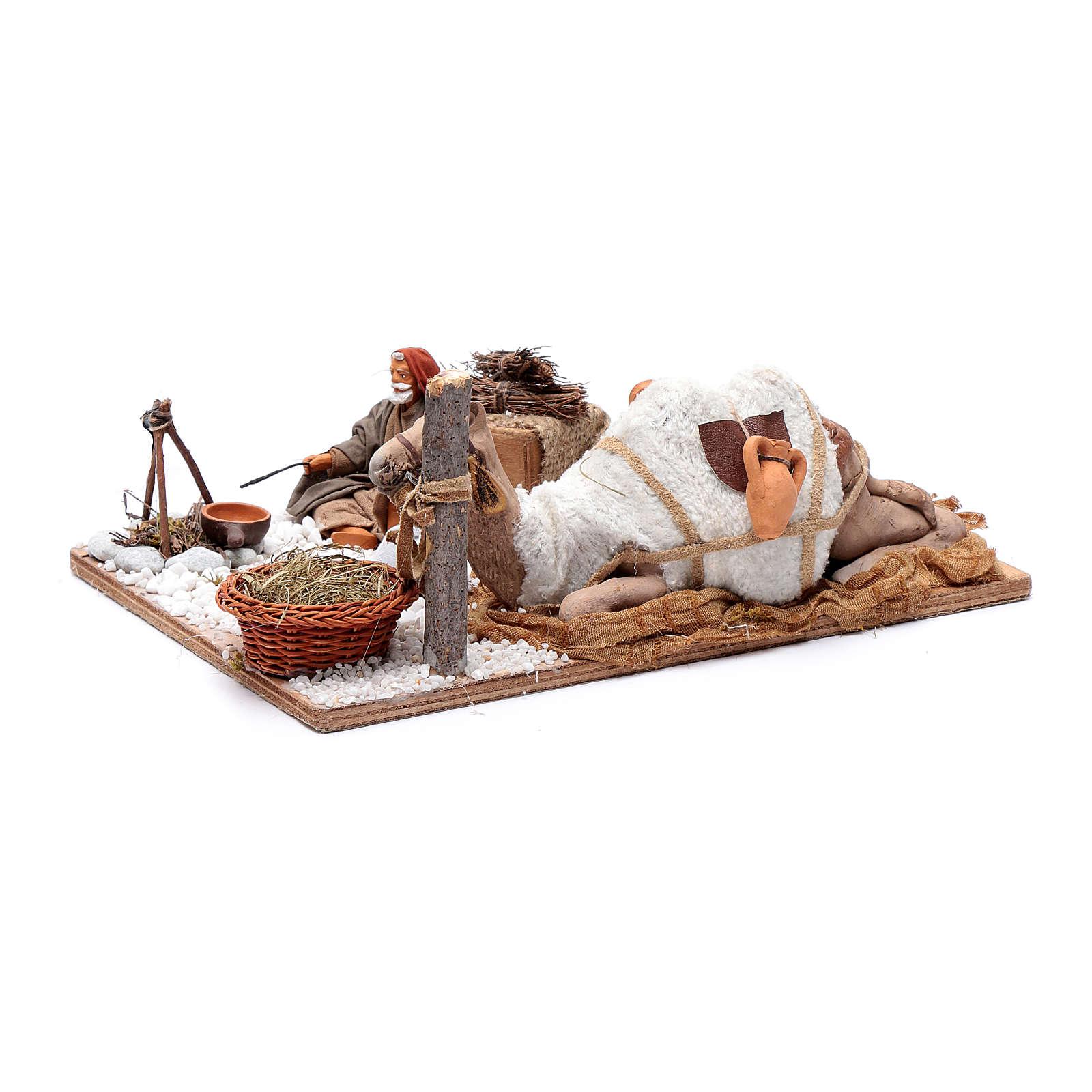 Man with camel, animated Neapolitan Nativity figurine 12cm 4